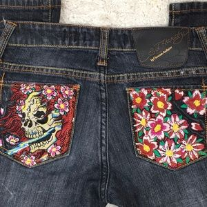 Ed Hardy embroidered bootcut jeans
